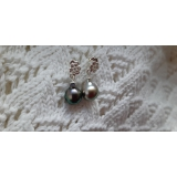 Perlové náušnice černé mořské duhové tahiti perly 10mm ES188