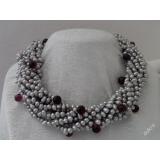 Perlový náhrdelník šedostříbrné duhové barokní jezerní perly, 9řad NB090