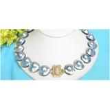 Perlový náhrdelník pravé světlé šedostříbrné mořské South sea mabe perly 21mm NJ7428