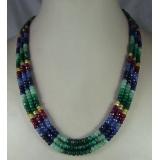 Náhrdelník přírodní rubíny, safíry a smaragdy DL034