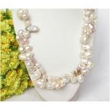 Perlový náhrdelník barokní bílé jezerní perly 23mm NJ8076