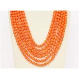 Náhrdelník oranžový korál 7mm, 6 řad NJ9778