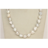 Perlový náhrdelník bílé jezerní obláčkové perly 14mm NJ9803