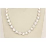 Perlový náhrdelník bílé jezerní obláčkové perly 12mm NJ9805