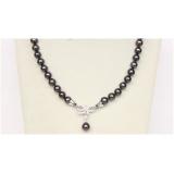 Perlový náhrdelník černé jezerní perly 10mm NJ9830
