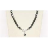 Perlový náhrdelník černé jezerní perly 10mm NJ9831