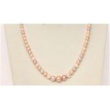Perlový náhrdelník růžové a levandulové jezerní perly 10mm  NJ9834