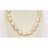 Perlový náhrdelník barokní růžové jezerní perly 25mm NJ9940