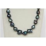 Perlový náhrdelník černé jezerní barokní perly 21mm NJ9941