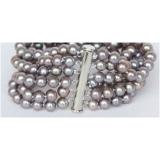 Perlový náramek jezerní šedé perly 7mm, 6řad BJ9981