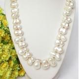Perlový náhrdelník barokní bílé jezerní perly twinborn 21mm NJ8075