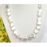 Perlový náhrdelník barokní bílé jezerní perly coin twinborn 26mm NJ7895