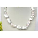 Perlový náhrdelník bílé jezerní perly reborn keshi 28mm NJ8326