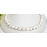 Perlový náhrdelník bílé jezerní perly 12mm NJ7823