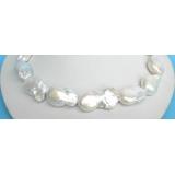 Perlový náhrdelník bílé jezerní perly reborn keshi NJ6631