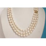 Perlový náhrdelník barokní bílé jezerní perly 11mm NJ5199