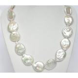 Perlový náhrdelník barokní bílé jezerní coin perly 26mm NJ7064