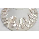 Perlový náhrdelník bílé jezerní perly reborn keshi 32mm NJ7099