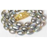 Perlový náhrdelník šedočerné barokní perly 15mm NJ8057
