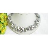 Perlový náhrdelník šedostříbrné jezerní perly coin 12mm NJ7619