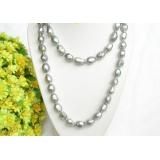 Perlový náhrdelník šedostříbrné barokní perly 15mm NJ7596