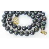 Perlový náhrdelník černé jezerní perly 9mm NJ7299