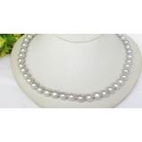Perlový náhrdelník šedostříbrné jezerní perly 10mm NJ7628