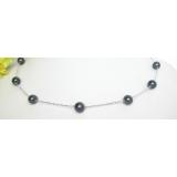 Náhrdelník černé jezerní perly 9mm NJ6693
