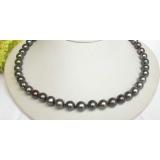 Perlový náhrdelník černé jezerní perly 10mm NJ7844