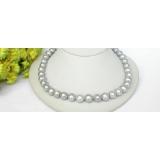 Perlový náhrdelník šedostříbrné barokní jezerní perly 12mm NJ7385