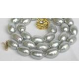 Perlový náhrdelník barokní šedostříbrné jezerní perly 13mm NJ7832