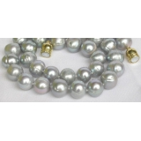 Perlový náhrdelník šedostříbrné jezerní perly 12mm NJ7831