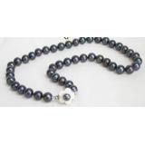 Perlový náhrdelník černé jezerní perly 10mm NJ6739