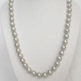 Perlový náhrdelník šedostříbrné jezerní perly 10mm NJ6779