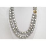 Perlový náhrdelník šedostříbrné jezerní perly 12mm NJ6757