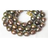 Perlový náhrdelník barokní černé jezerní perly 11mm NJ8031