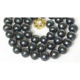 Perlový náhrdelník černé jezerní perly 11mm NJ8065