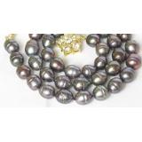 Perlový náhrdelník barokní černé jezerní perly 11mm NJ8058