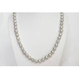 Perlový náhrdelník šedostříbrné jezerní perly 9mm NJ6786