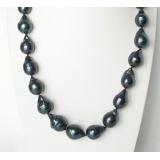 Perlový náhrdelník černé jezerní perly drip reborn keshi 21mm NJ8154