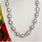 Perlový náhrdelník šedostříbrné jezerní perly reborn keshi 23mm NJ7792