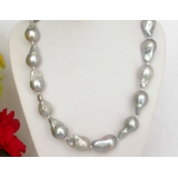 Perlový náhrdelník šedostříbrné jezerní perly reborn keshi 25mm NJ7794