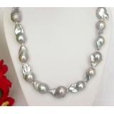 Perlový náhrdelník šedostříbrné jezerní perly reborn keshi 26mm NJ7795
