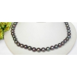 Perlový náhrdelník černé jezerní perly 10mm NJ7672