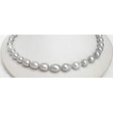 Perlový náhrdelník barokní šedostříbrné jezerní perly 14mm NJ7089