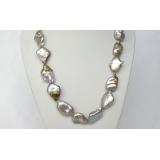 Perlový náhrdelník levandulové jezerní perly reborn keshi 24mm NJ7301