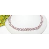 Perlový náhrdelník levandulové jezerní perly 8mm NJ7676