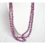 Perlový náhrdelník barokní levandulové jezerní perly 12mm NJ6886