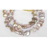 Perlový náhrdelník barokní levandulové jezerní perly coin twinborn 25mm NJ7899