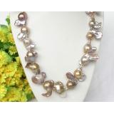 Perlový náhrdelník levandulové jezerní perly reborn keshi 21mm NJ8333